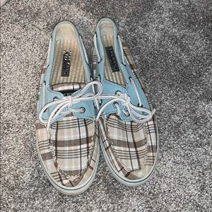 Sperry's white/tan/brown/light mint